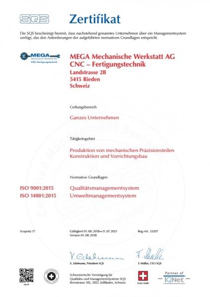 ISO9001 / ISO14001 Schweiz