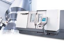 8-Achsen-Maschine mit angetriebenen Werkzeugen und Y-Fräsachse ± 40mm Spindeldurchlass 65mm, programmierbare Subspindel Stangenladermagazin LNS 1.5m Drehdurchmesser 410mm, Drehlänge 635mm